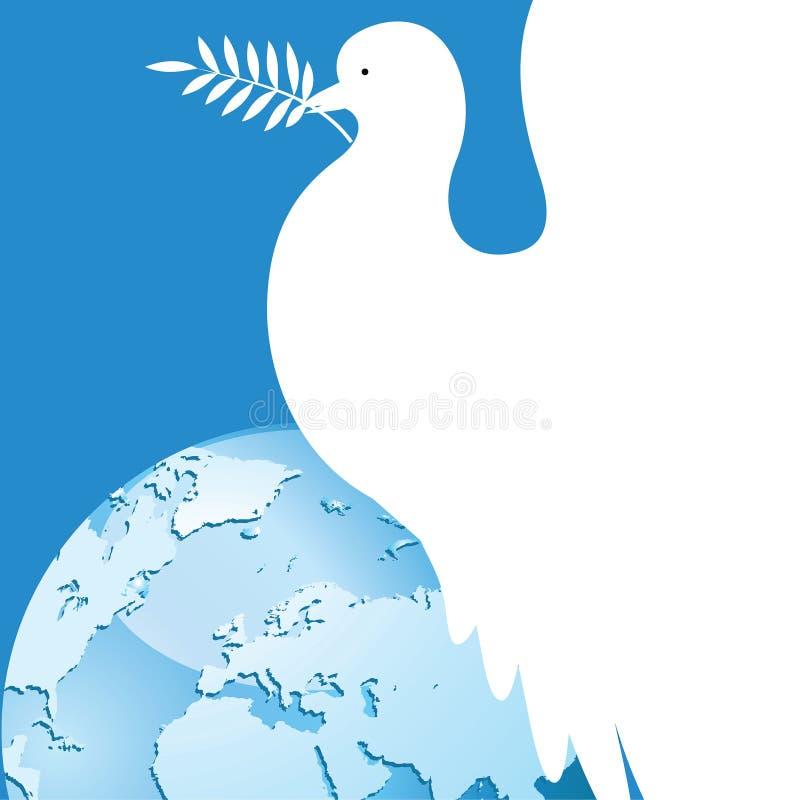 Międzynarodowy dzień pokój nurkował nad światem Biel nurkujący z gałązką oliwną ilustracja wektor