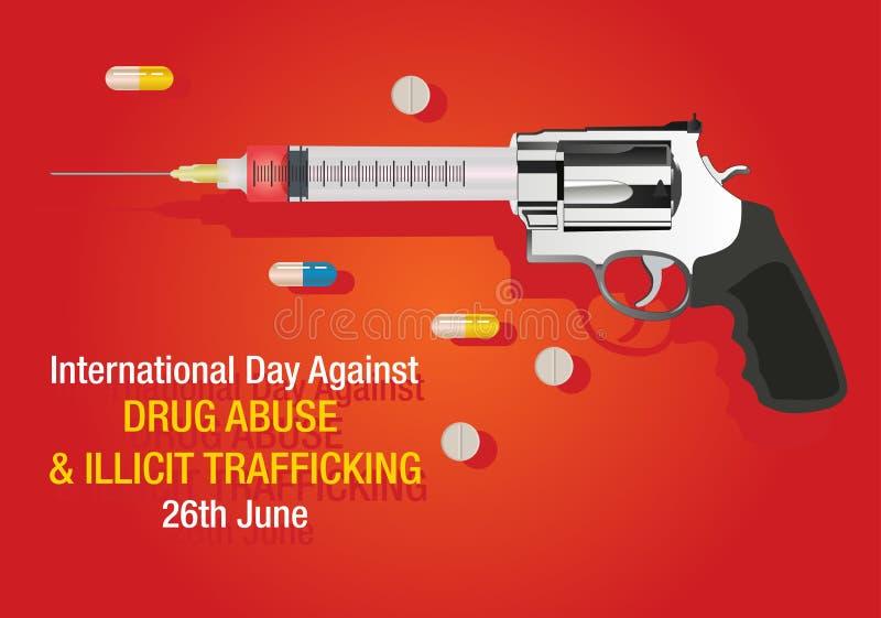 Międzynarodowy dzień przeciw nadużywaniu narkotyków i Nielegalnemu Kupczy tłu ilustracja wektor