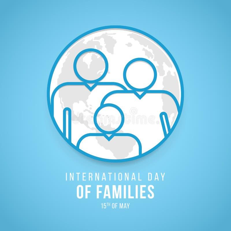 Międzynarodowy dzień rodzina sztandar z niebieskiej linii rodziną na światowej mapy znaku na błękitnego tła wektorowym projekcie ilustracja wektor