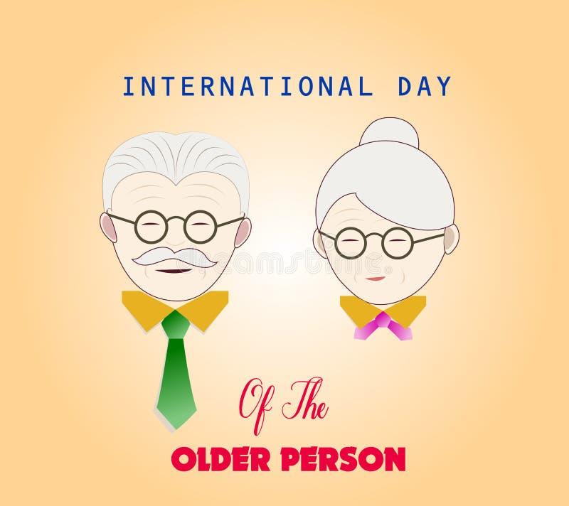 Międzynarodowy dzień stara osoba Para starzy ludzie royalty ilustracja