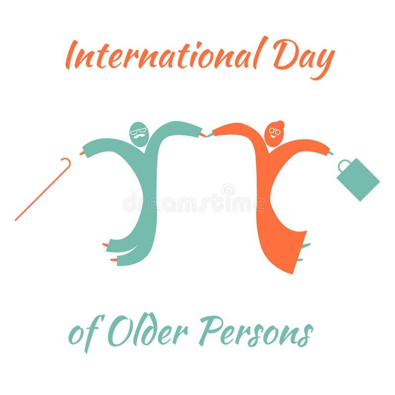 Międzynarodowy dzień Stara osoba Starego człowieka i kobiety doskakiwanie dla radości royalty ilustracja