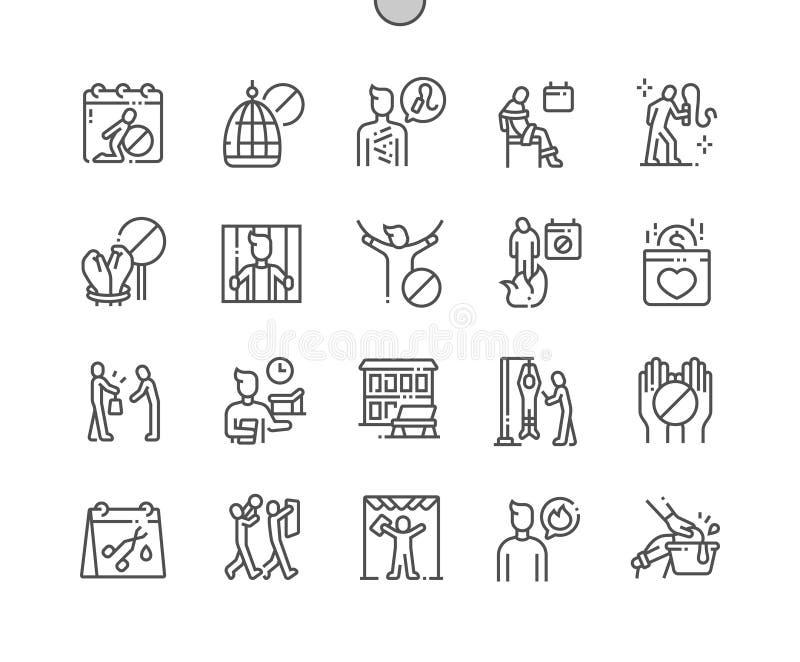 Międzynarodowy dzień w poparciu dla ofiary tortury Wykonywać ręcznie piksel Doskonalić wektor Cienkie Kreskowe ikony ilustracji