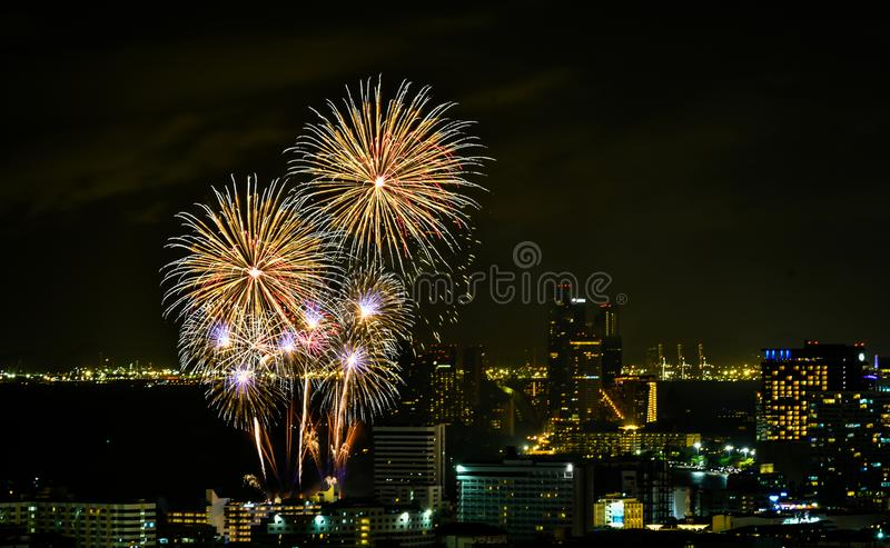 Międzynarodowy fajerwerku festiwal 2018 przy Pattaya, Tajlandia zdjęcia stock