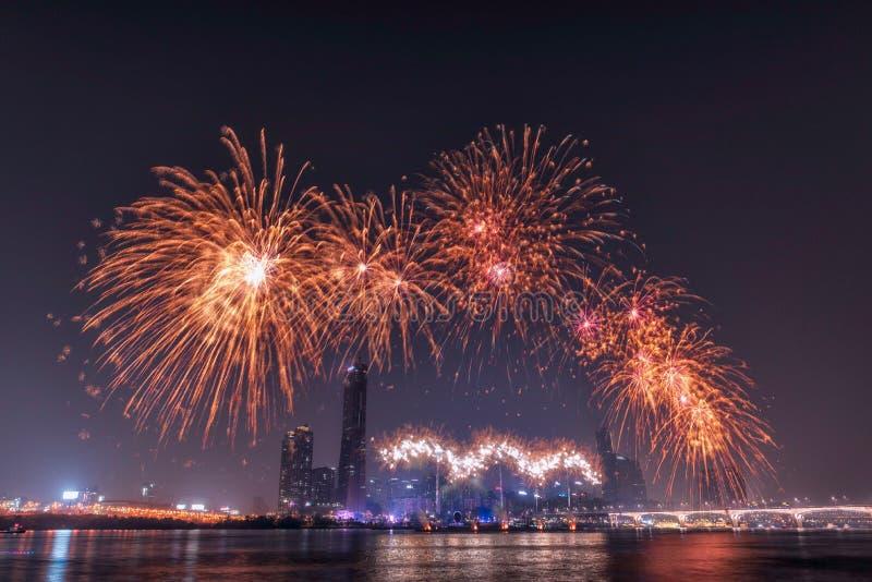 Międzynarodowy fajerwerku festiwal w Seul, Korea obraz royalty free