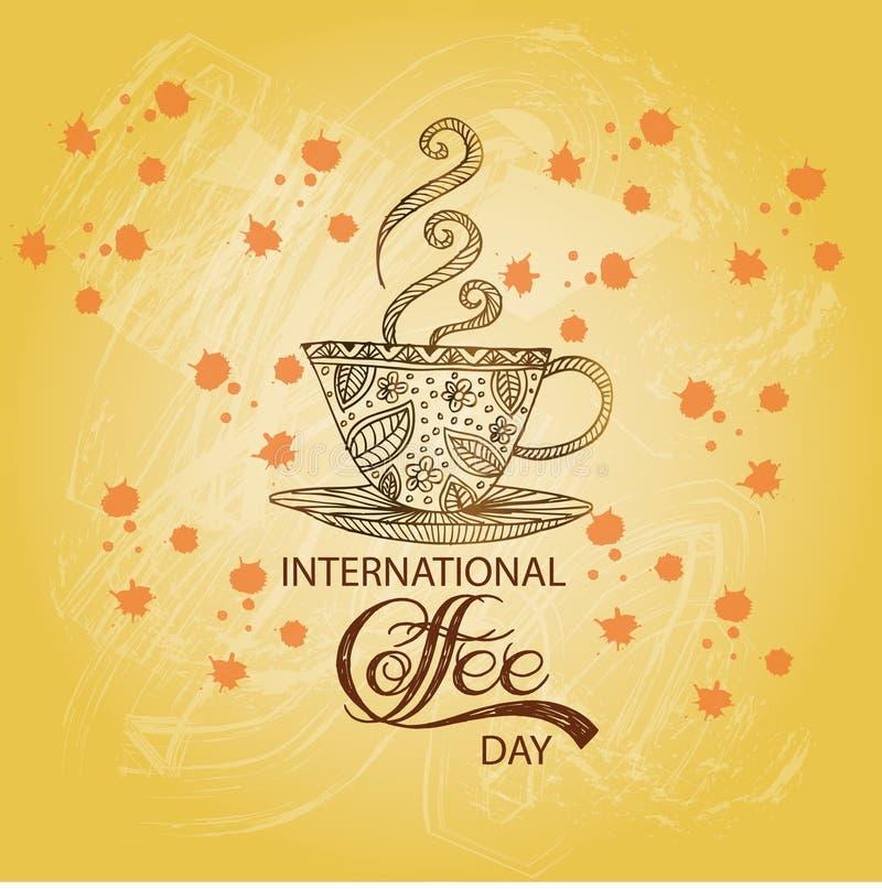 Międzynarodowy kawowy dzień ilustracji