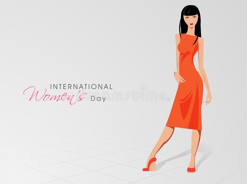 Międzynarodowy kobieta dnia świętowanie z młodym modnym gira ilustracji