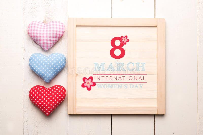 Międzynarodowy kobieta dnia zawiadomienia deski powitanie zdjęcia royalty free