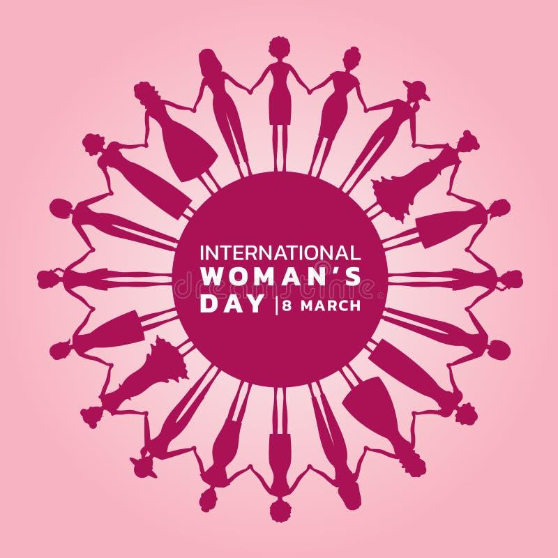 Międzynarodowy kobieta dzień z różowymi purpurowymi kobiety mienia rękami okrążać sztandaru wektorowego projekt ilustracja wektor