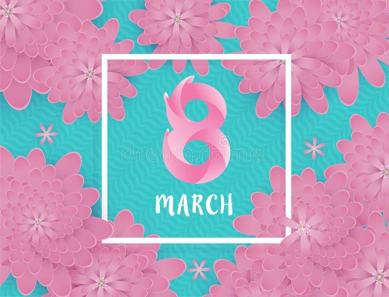 Międzynarodowy kobiety ` s dzień 8 Marzec ilustracja wektor