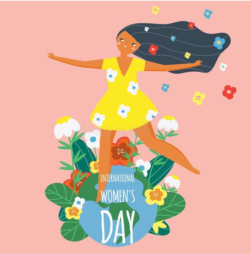 Międzynarodowy kobiety ` s dzień Szczęśliwa kobieta i ziemi kula ziemska Projektuje szablon dla karty, plakat, sztandar Wektorowa ilustracja wektor