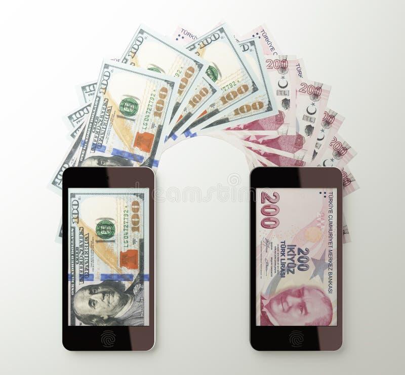 Międzynarodowy mobilny przelew pieniędzy, dolar Turecki lir ilustracji