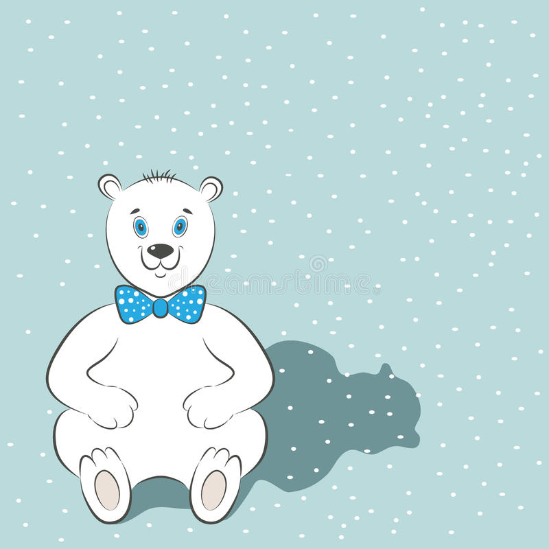 Międzynarodowy niedźwiedzia polarnego dnia plakat Śliczny zwierzę z błękitnym łęku krawatem Śnieg jest w tle Prosty kreskówka sty ilustracji