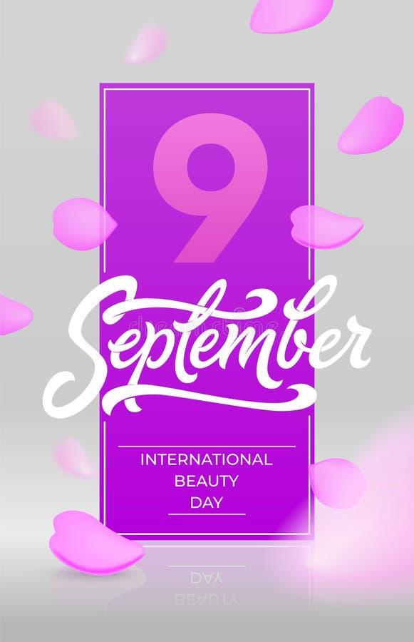 Międzynarodowy piękno dnia sztandar z latanie różanymi płatkami na lekkim tle 9 dziewięć Wrześni typografia piękne ilustracja wektor