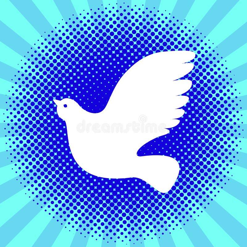 Międzynarodowy pokoju dzień Biel gołąbka Tło kropki i promienie ilustracji