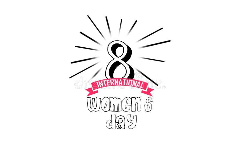 Międzynarodowy Szczęśliwy kobiety ` s dnia świętowania pojęcie z eleganckim dekorującym tekstem 8th Marzec na brown tle ilustracja wektor