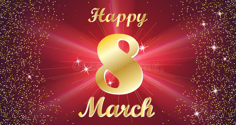 Międzynarodowy Szczęśliwy kobiety ` s dnia świętowania pojęcie z teksta literowania 8th Marcową Złotą typografią na Czerwonym tle ilustracja wektor