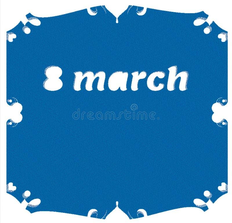 Międzynarodowy szczęśliwy kobiety ` s dzień na Marzec Wzrastał kwiaty liczba 8, symbol zdjęcia stock
