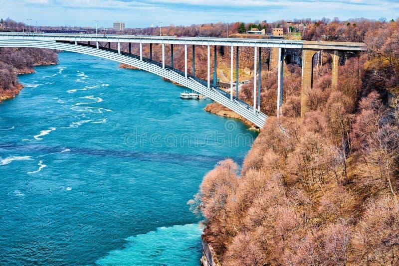 Międzynarodowy tęcza most nad Niagara wąwozu Rzeczny usa zdjęcie stock