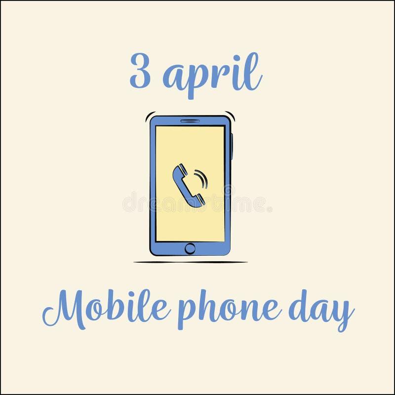 Międzynarodowy telefonu dzień smartphone mieszkania wektorowy styl ilustracja wektor