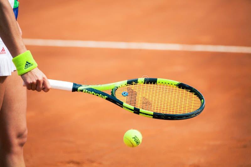 Międzynarodowy tenis ręka gracza w tenisa płótna ilustracji kobieta zdjęcia stock
