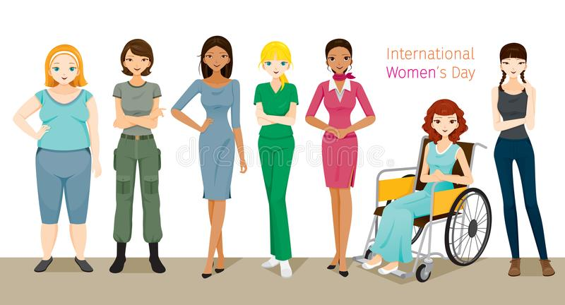 Międzynarodowy Women's dzień, grupa kobiety Z Różnorodnymi narodami ilustracja wektor