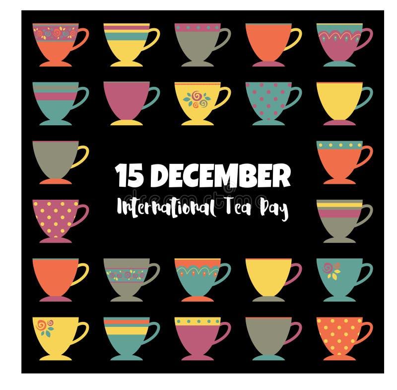 Międzynarodowych Herbacianych dnia mieszkania nieatutowych nowożytnych kolorów herbaciane filiżanki ilustracyjne ilustracja wektor
