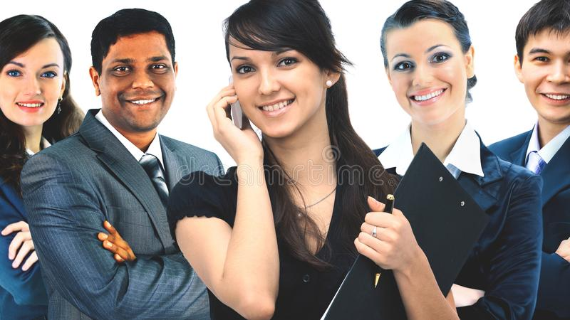 Międzyrasowa biznes drużyna pięć ludzi obrazy stock