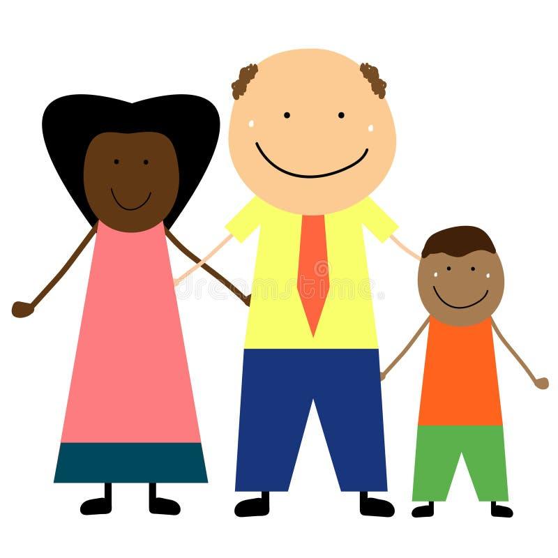Międzyrasowa rodzina z dzieckiem ilustracja wektor