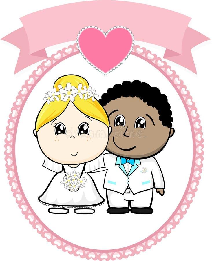 Międzyrasowy pary państwo młodzi ilustracji