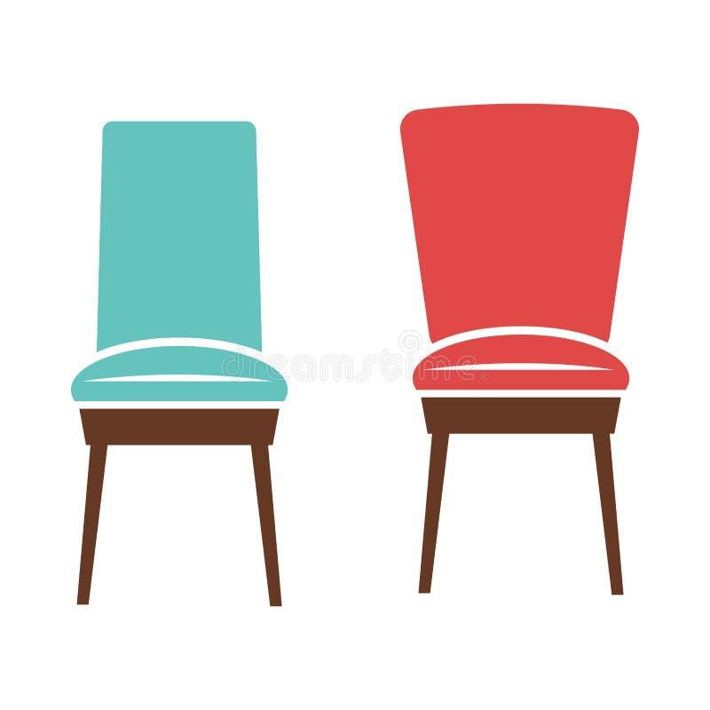 Miękcy wygodni krzesła z drewnianych nóg ilustracjami ilustracja wektor