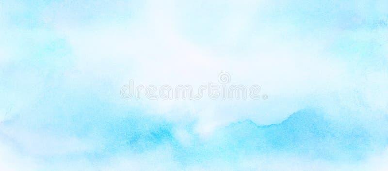 Miękka część mażący lekki nieba błękita koloru akwareli tło Aquarelle maluj?ca papierowa textured kanwa dla rocznika projekta, za ilustracja wektor