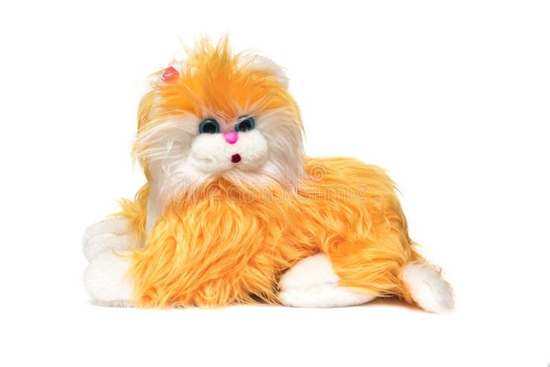 Miękka część zabawkarski śliczny pomarańczowy kot na białym tle fotografia royalty free