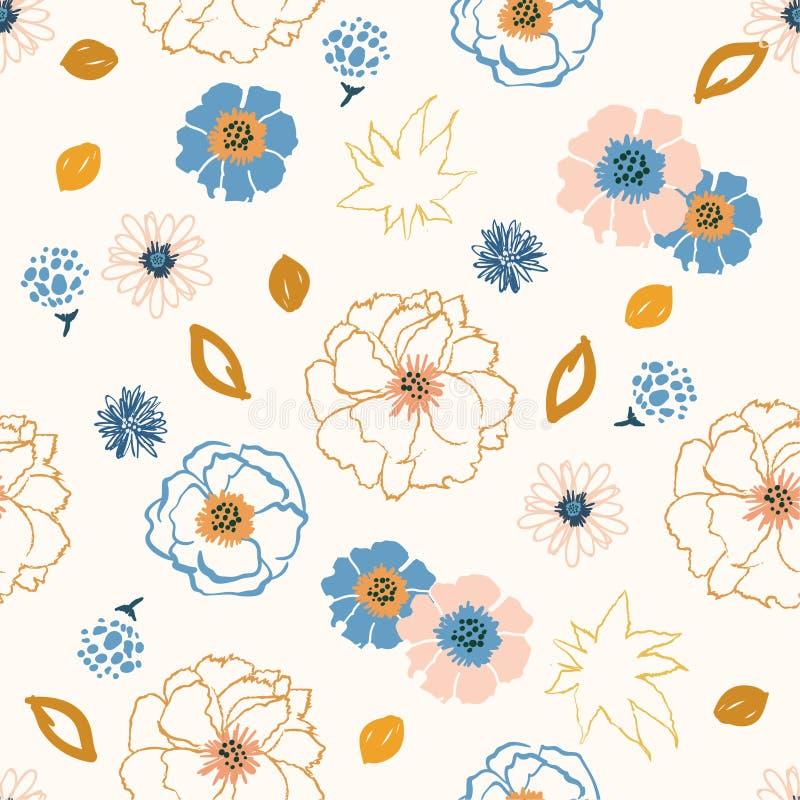 Miękka i gental pastelowa ręka rysujący kwiatu wystrzału sztuki linii muśnięcia st ilustracji