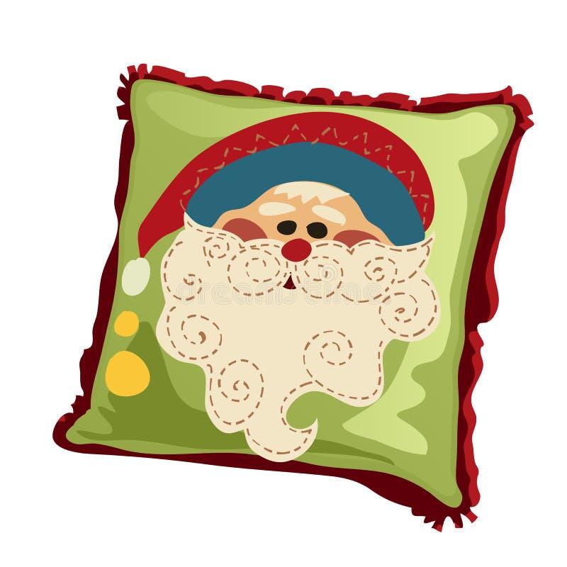 Miękka wakacyjna poduszka z twarzą Święty Mikołaj odizolowywał na białym tle również zwrócić corel ilustracji wektora ilustracja wektor