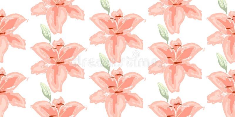 Miękki bezszwowy kwiecisty wzór Piękna leluja kwitnie na bielu Abstrakcjonistyczna ręka rysujący wektorowy tło zdjęcia royalty free