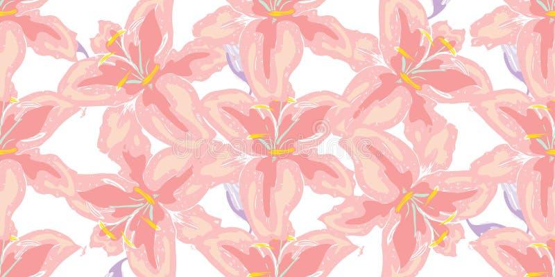 Miękki bezszwowy kwiecisty wzór Piękna leluja kwitnie na bielu Abstrakcjonistyczna ręka rysujący wektorowy tło obraz stock