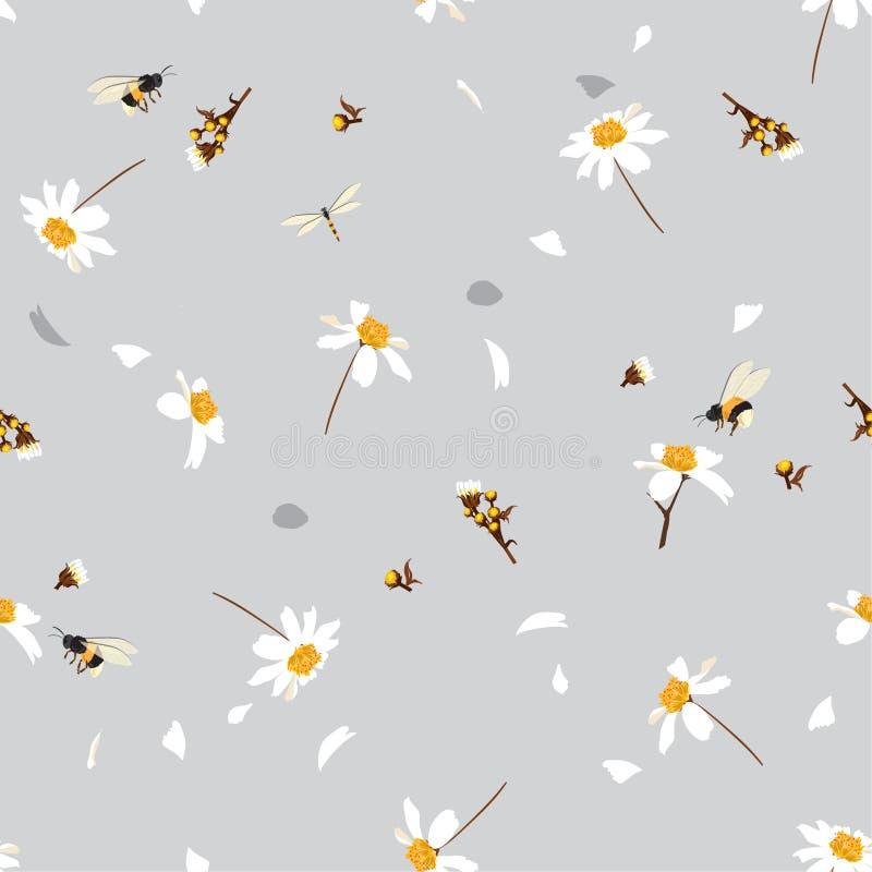 Miękki i delikatny ładny stokrotka kwiecistego druku dmuchanie w wiatrowym projekcie z mamrocze pszczoła bezszwowego wzór w wekto ilustracja wektor