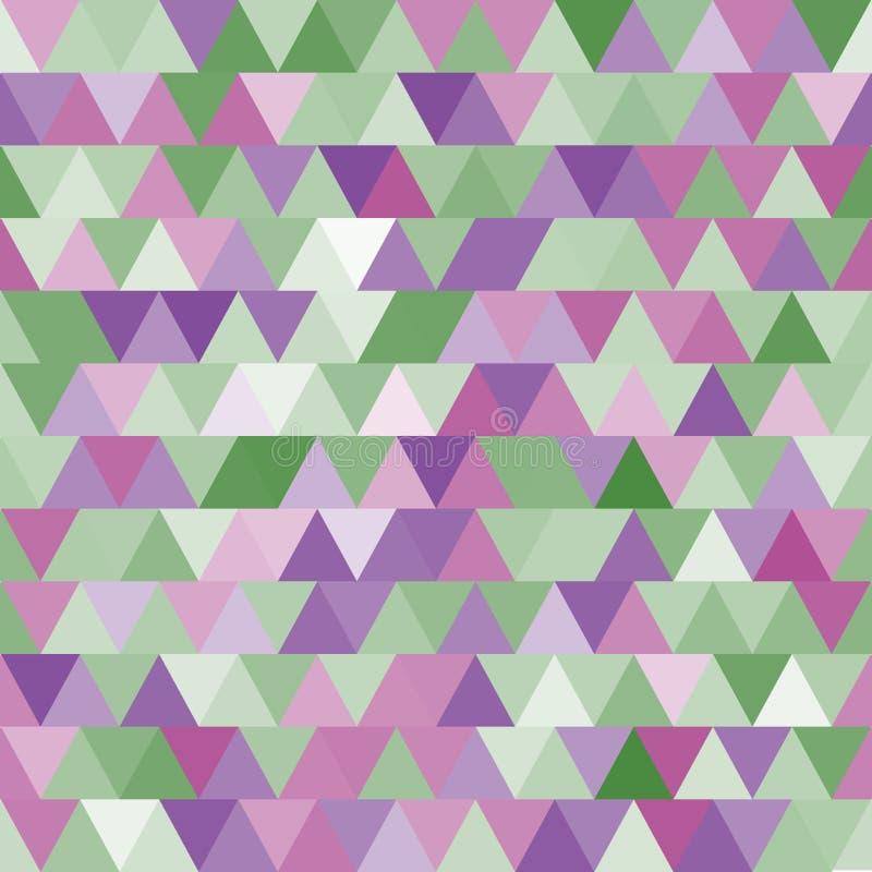 Miękki purpur i zieleni wektorowy bezszwowy wzór z trójbokami abstrakcyjny tło royalty ilustracja