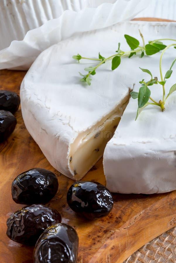 Miękki ser z korzennymi oliwkami obraz royalty free