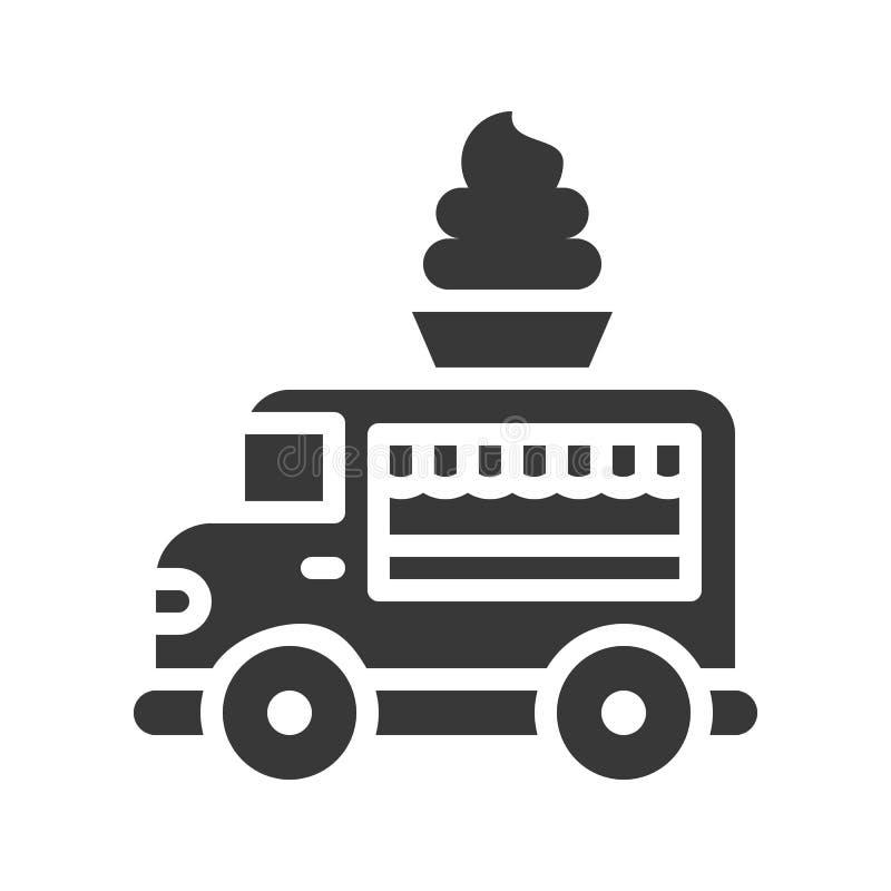 Miękki serw ciężarówki wektor, jedzenie bryły stylu ciężarowa ikona ilustracji