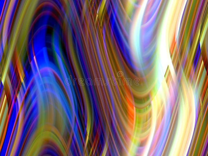 Miękkie iskrzaste złociste błękitnej zieleni białe rzadkopłynne linie, tło, grafika, abstrakcjonistyczny tło i tekstura, ilustracja wektor