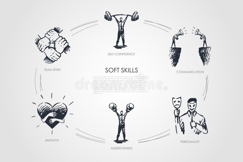 Miękkie umiejętności, dufność, osobowość, asertywność, drużynowy duch ilustracji