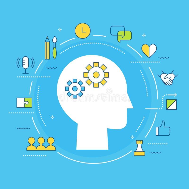 Miękkie umiejętności i Wieloskładnikowa inteligencji pojęcia ilustracja P?aski wektorowy projekt ilustracji
