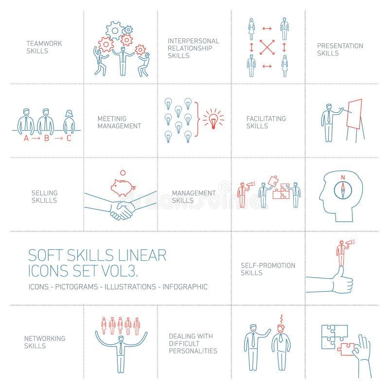Miękkie umiejętności ikony, piktogramy ustawiający ludzkie umiejętności i ilustracji