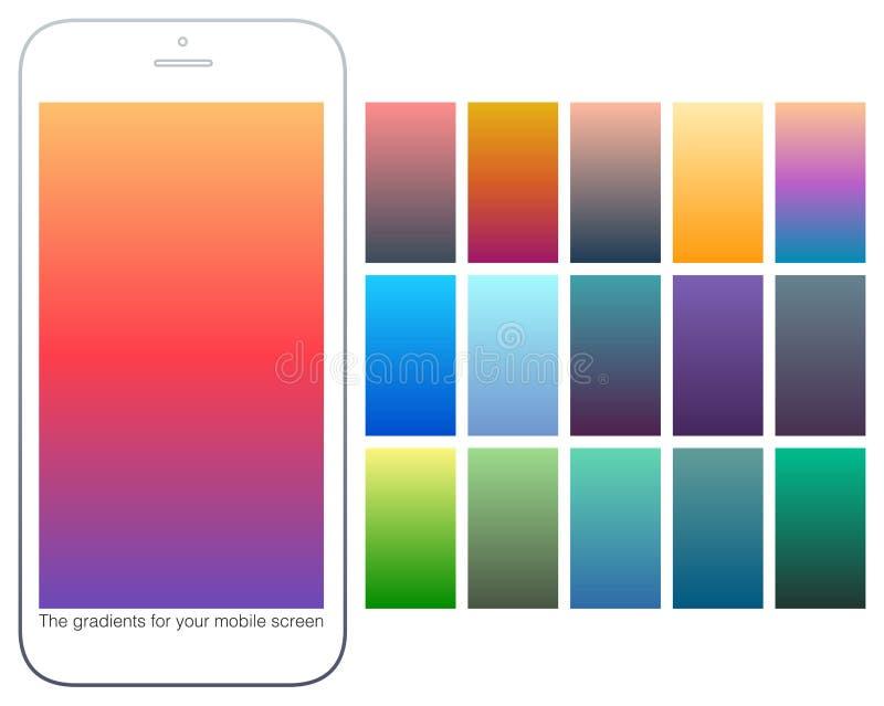 Miękkiego koloru gradientowi tła ustawiający Nowożytni ekrany dla wiszącej ozdoby app Abstrakcjonistyczni kolorowi wektorowi grad ilustracja wektor