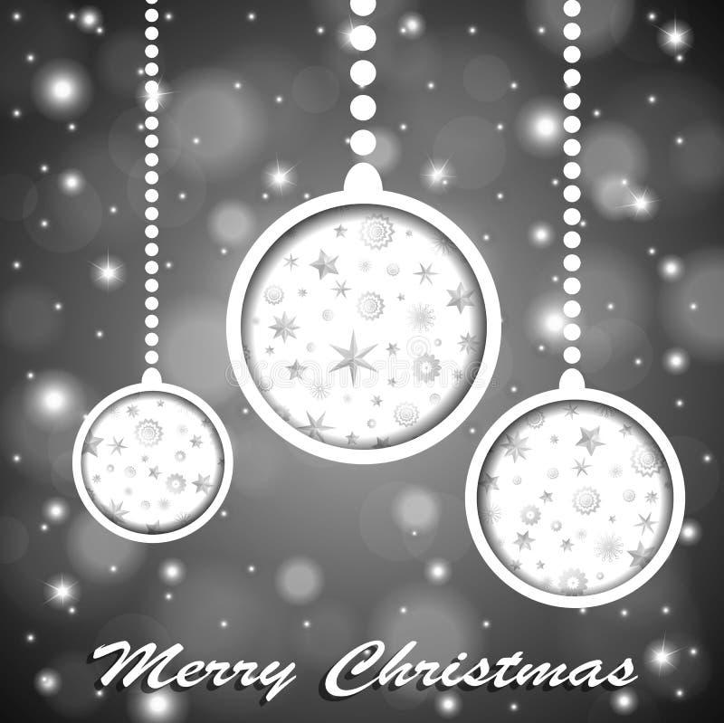 Miękkiego koloru srebra bożych narodzeń błyszczące zabawki z gwiazdami i płatkami śniegu cuted w papierze na zamazanym tle ilustracji