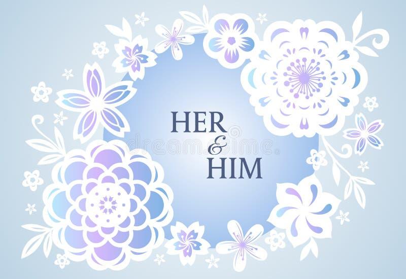 Miękkiej Błękitnej purpura okręgu kwiatu abstrakta ramy sztuki wektorowy projekt dla ślubnej karty lub valentine ` s dnia ilustracji