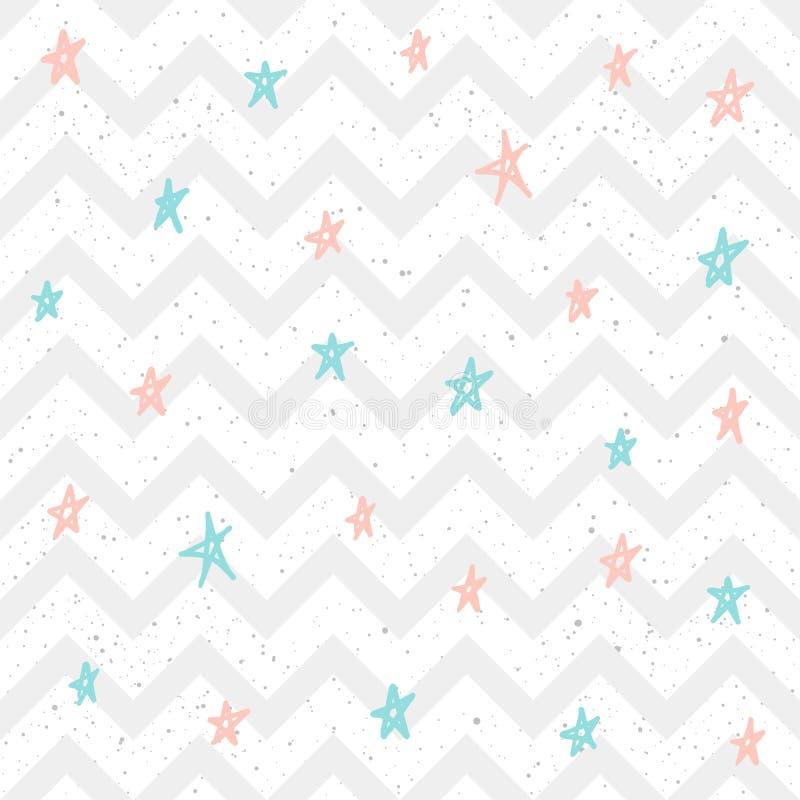 Miękkiej pastel gwiazdy bezszwowy tło Różowa i błękitna gwiazda ilustracja wektor