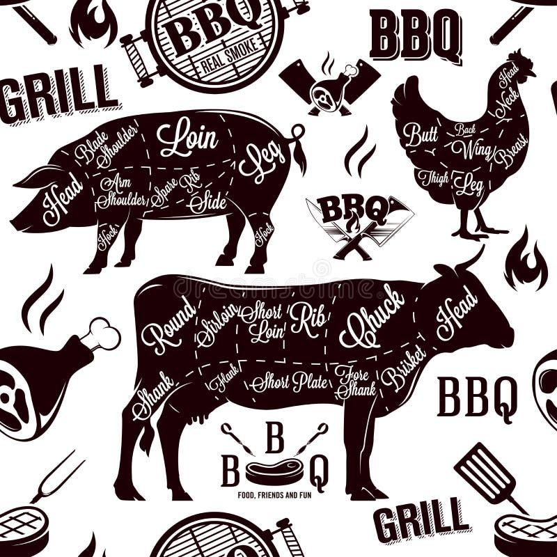 Mięs cięcia i grilla bezszwowy wzór, wektorowa ilustracja ilustracji