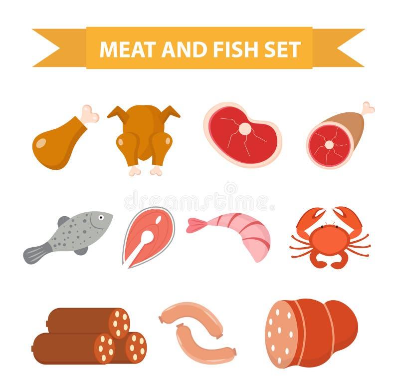 Mięsa i owoce morza ikony set, mieszkanie styl Mięso i ryba ustawiamy odosobnionego na białym tle Mięso i kiełbasa, proteinowi fo royalty ilustracja